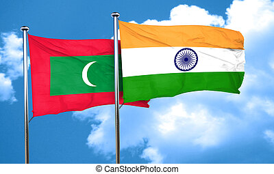Maldives flag with India flag, 3D rendering