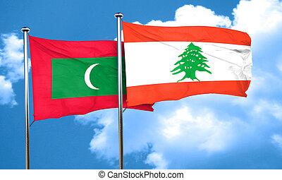 Maldives flag with Lebanon flag, 3D rendering