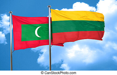 Maldives flag with Lithuania flag, 3D rendering