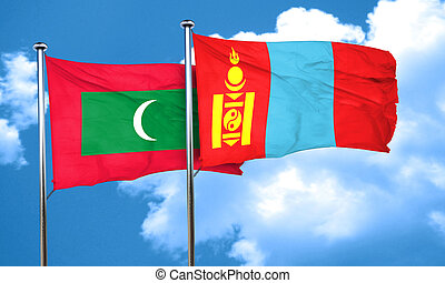 Maldives flag with Mongolia flag, 3D rendering