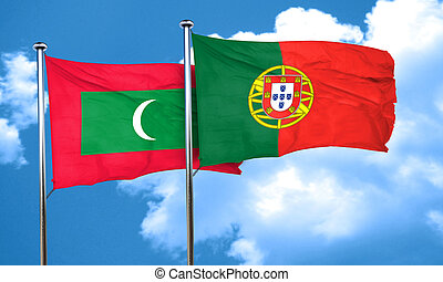 Maldives flag with Portugal flag, 3D rendering