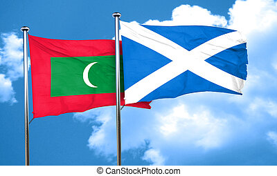 Maldives flag with Scotland flag, 3D rendering