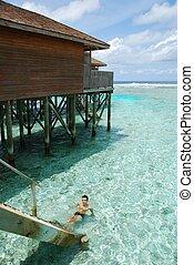 maldives, jovem, relaxante, homem