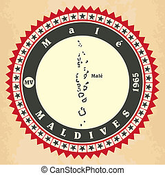 maldives., label-sticker, cartelle, vendemmia