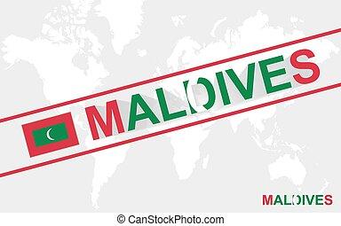 Maldives map flag and text illustration