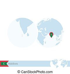 Map of maldives with flag - vector illustration.