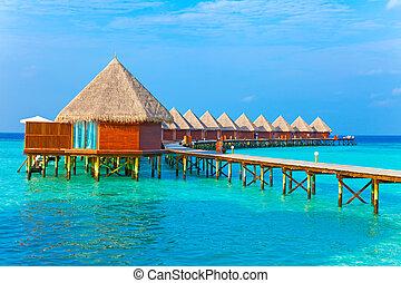 maldives., pilas, chalet, agua