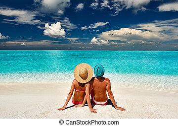 maldives, plage, couple