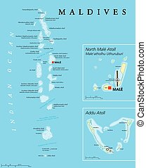 Vector Of Map Of The Maldives A Large And Detailed Map Of The - Political map of maldives