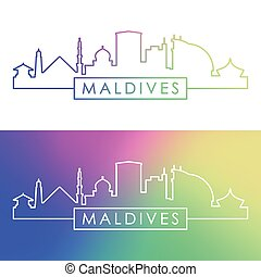 Maldives skyline. Colorful linear style.
