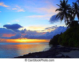 maldives sunset - Sunset on  maldives, indian ocean