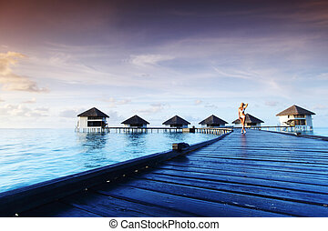 maldivian, ビキニ, 女, 日没