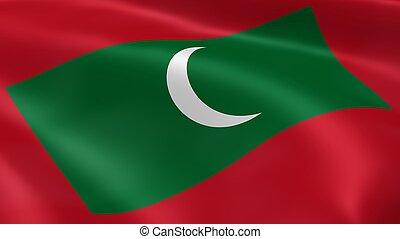 Maldivian flag in the wind