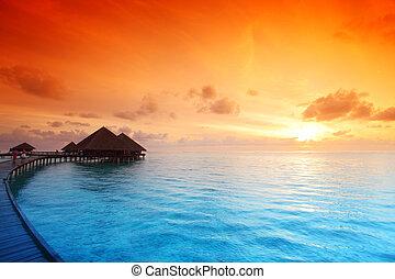 maldivian, maisons, levers de soleil