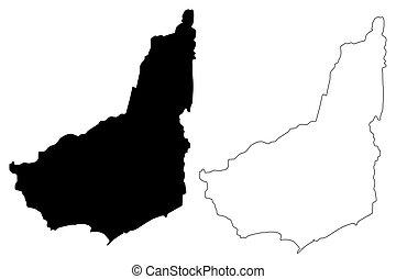 Maldonado Department (Departments of Uruguay, Oriental Republic of Uruguay) map vector illustration, scribble sketch Maldonado map