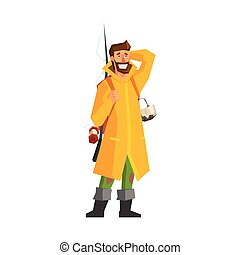 Male Adventurer With Fishing Equipment Flat Colorful Vector...
