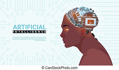 Male African American Head With Modern Cyborg Brain Over Circuit Motherboard Background Artificial Intelligence Concept