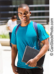 male african college student outdoors