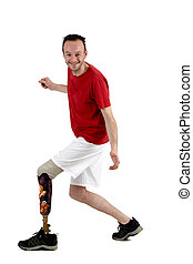 Male amputee showing the use of a prosthetic limb - Happy ...