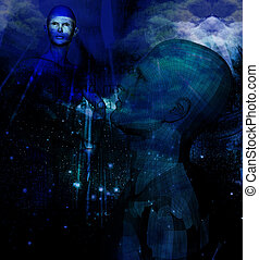 male and female abstract