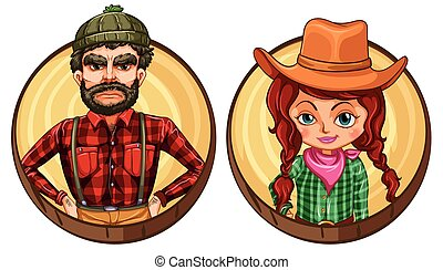 Male and female adult on round badge illustration