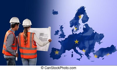 Male and female architects holding a blueprint against EU map