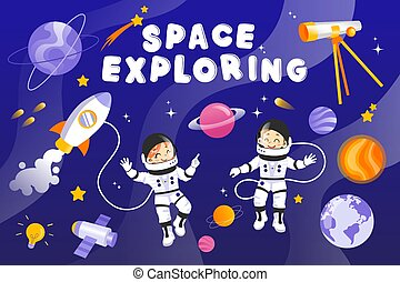 Male And Female Austronauts With Planets, Stars, Rocket, Spaceship And Different Cosmic Items. Two Happy Characters In Space Outfits Smiling. Vector Cartoon Style Illustration. Flat Colorful Galaxy