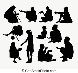 Male and female beggar silhouette. Good use for symbol, logo, web icon, game elements, mascot, or any design you want. Easy to use.