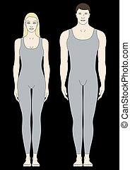 male and female body templates in front view