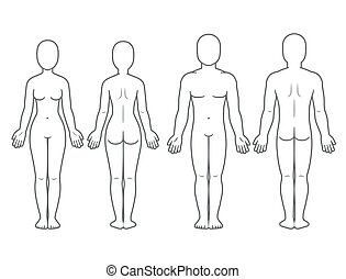 Male and female body front and back view. Blank human body...