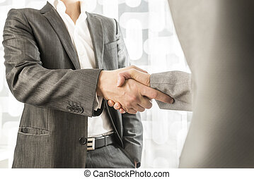 Male and female business or political partners shaking hands in agreement