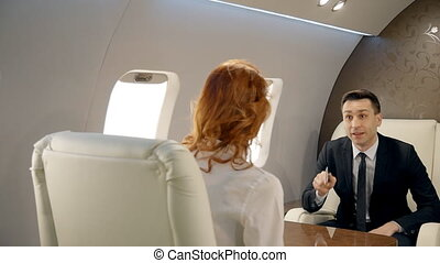 Male and female business partners having negotiations in luxury jet.
