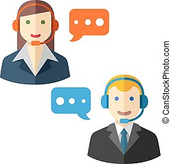 Male and female call center avatar icons flat