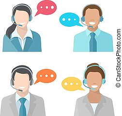 Male and female call center avatar icons with a man and ...