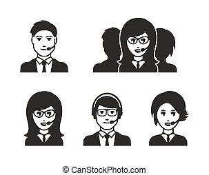 Male and female call center avatars icons
