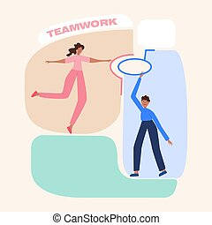 Male and female cartoon characters connect puzzle. Concept of teamwork, mutual assistance, cooperation. Man and woman work well together. Puzzles are added to the structure. People collaborate