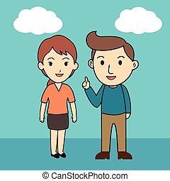 Male and female Character Cartoon