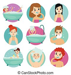 Male and female characters doing bathroom procedures, morning personal hygiene vector Illustration