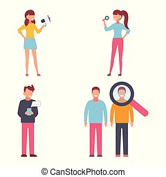Male and female characters. Flat design vector of people with objects
