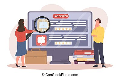 Male and female characters searching for a job. Conept of people searching for a job on computer using magnifier. Flat cartoon vector illustration