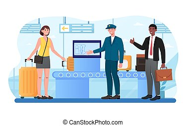 Male and female characters standing near baggage drop-off point at an airport terminal. Queue of multiracial passengers checking in their luggage before the flight. Flat cartoon vector illustration