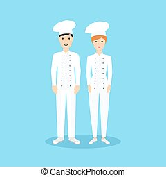 Male and Female chef in flat design. Vector illustration.
