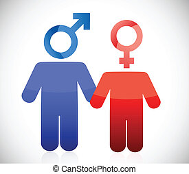 male and female couple illustration design