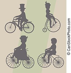 Male and Female Cyclist Silhouettes