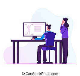 Male and Female Developers Looking on Computer Screen with Process of Creation Prototype Female Figure. Industrial Designers Testing 3d Printer in Science Laboratory Cartoon Flat Vector Illustration