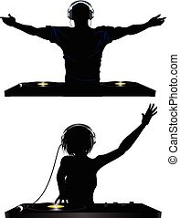 Male and Female Silhouette of DJ Playing Records with Headphones and Record Decks