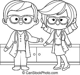 Male and female doctors. Coloring book page.