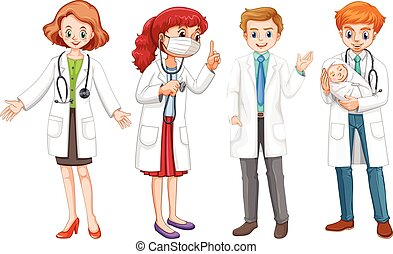 Male and female doctors in uniform