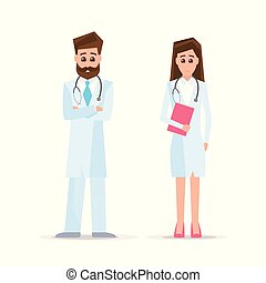 Male and female doctors isolated on white
