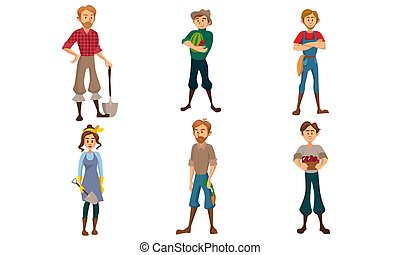 Male and female farmers with different tools. Vector illustration.